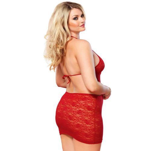 LEG AVENUE OPEN BACK LACE MINI DRESS RED (1)